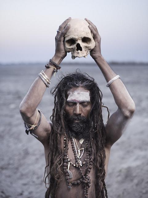 aghori human skull